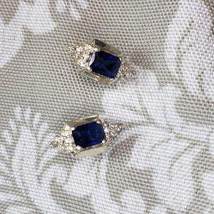 Sapphire color Rhinestone stud Earrings